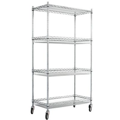 Chrome Trolley With Basket Shelves